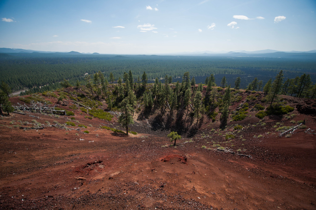 At the top of Lava Butte cinder cone
